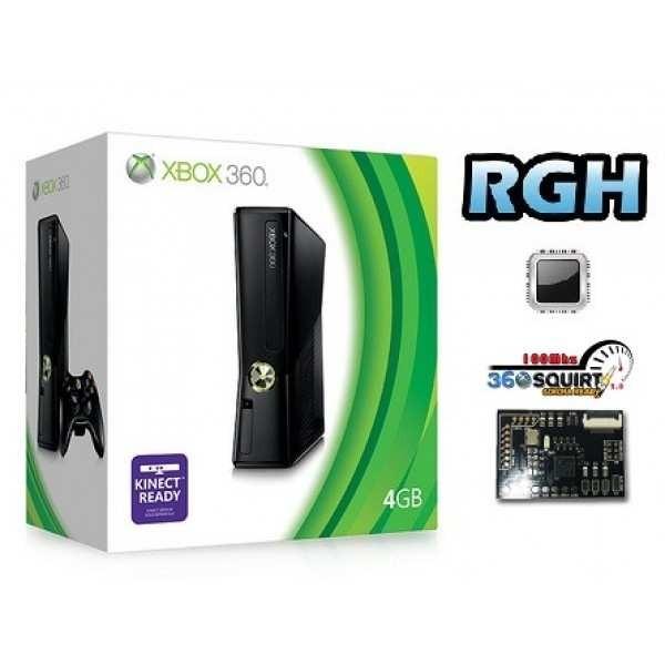 Xbox 360 Slim 4GB modificata con RGH + Squirt 2.0 Freestyle e Pacchetta Emulatori