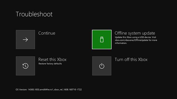 schermata errore xbox one
